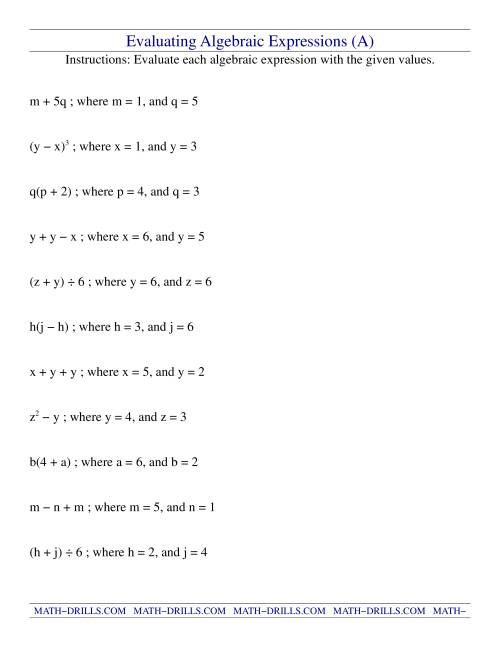 Algebraic expression word problems examples with answers pdf